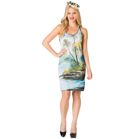 Rasta Imposta Bob Ross Painting Tank Dress Adult Costume - Multi - One Size Fits Most
