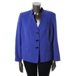 Kasper Womens Plus Three-Button Long Sleeves Collarless Blazer - 18W