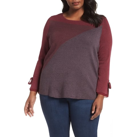 Nic+Zoe Red Womens Size 2X Plus Colorblock Scoop Neck Knit Top