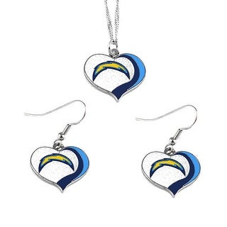 San Diego Chargers NFL Glitter Heart Necklace and Earring Set Charm Gift