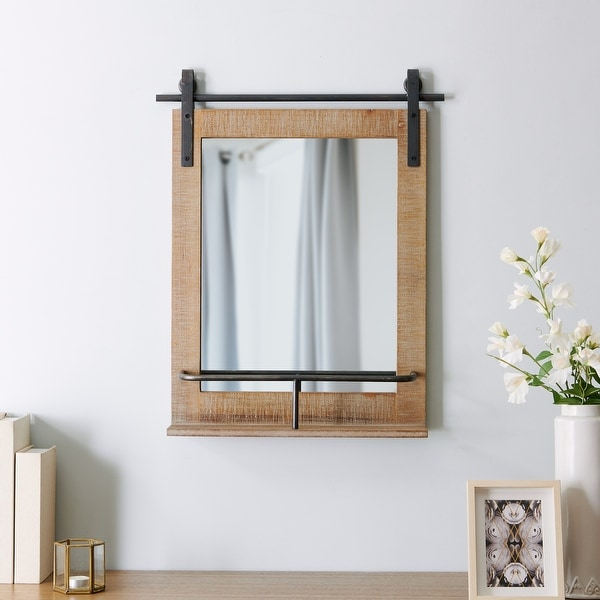 FirsTime & Co.® Ingram Farmhouse Barn Door Mirror With Shelf, American Crafted, Rustic Wood, Metal, 20 x 5 x 25 in. Opens flyout.