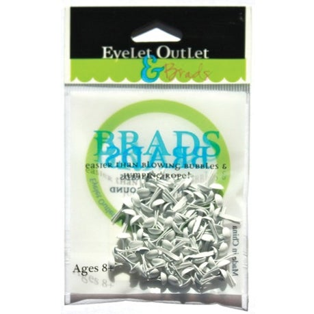 Eyelet Outlet Round Brads 4mm 70/Pkg-White - White