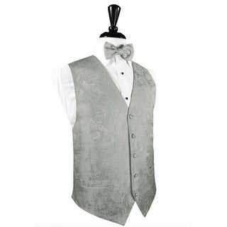 Platinum Silk Tapestry Paisley Tuxedo Vest and Bow Tie