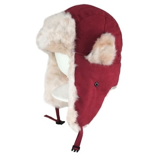 CapRobot Fashion Trooper Aviator Bomber Suede Hat - Red / White