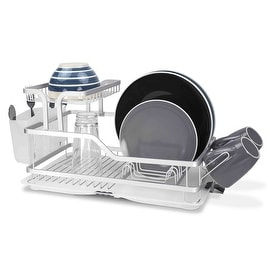 Home Basics Rust-Proof Aluminum 2-Tier Dish Rack, 20.5x12x9.75 Inches