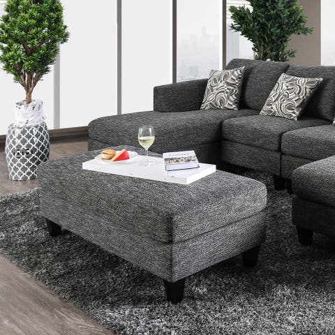 Furniture of America Lauf Transitional Grey Chenille Padded Ottoman