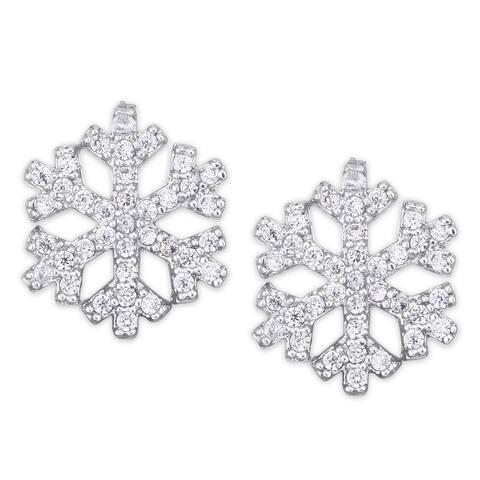 Cubic Zirconia Snowflake Stud Silver Plated Earrings