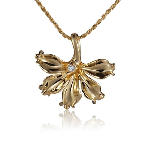"Napaka Flower Diamond Necklace 14k Gold Pendant 18"" Chain"