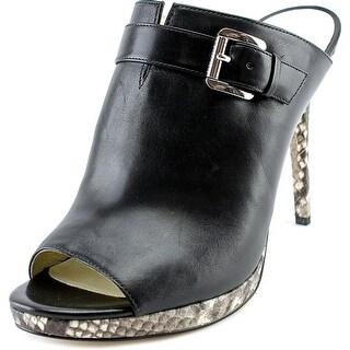 Michael Michael Kors Isabella Mule Peep-Toe Leather Mules