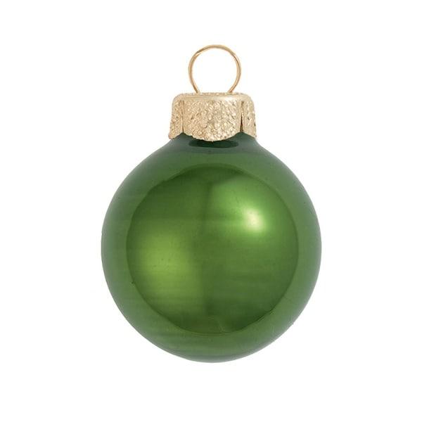 "6ct Pearl Green Glass Ball Christmas Ornaments 4"" (100mm)"