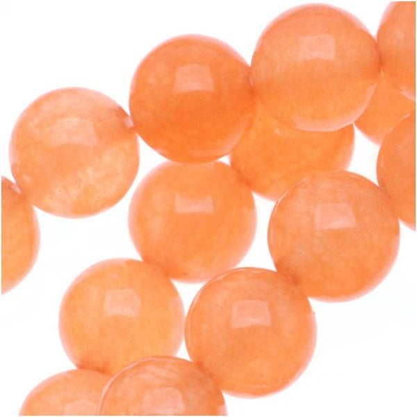 Apricot Candy Jade 6mm Round Beads / 15.5 Inch Strand