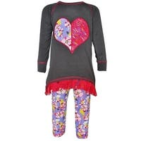 AnnLoren Baby Girls Grey Lace Heart Applique Top Floral Pant Outfit 12-24M