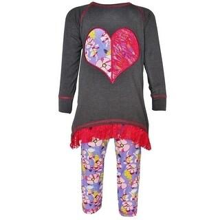 AnnLoren Baby Girls Grey Lace Heart Applique Top Floral Pant Outfit 12-24M