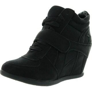 Top Moda Womens Sammy-40 High Top Strap Womens Hidden Wedge Sneaker Shoes