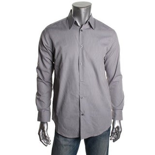 Via Europa Mens Striped Longs Sleeves Button-Down Shirt - XL