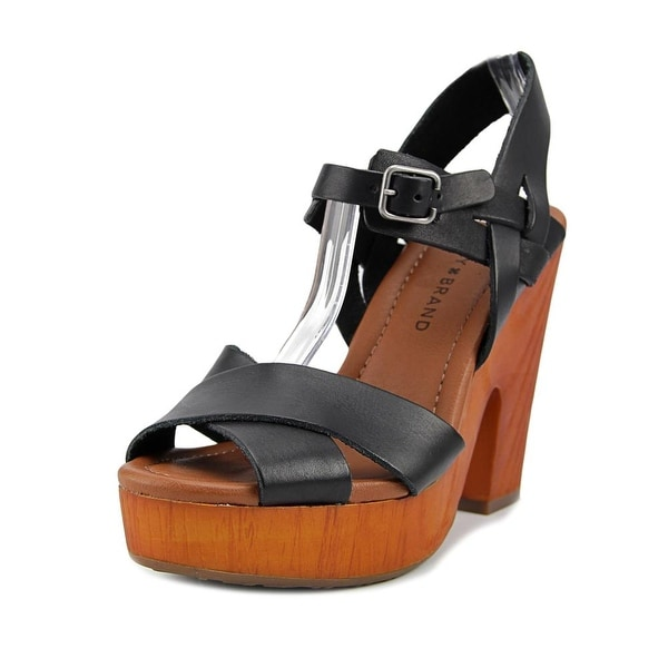 Lucky Brand Nova Women Open Toe Leather Black Platform Sandal