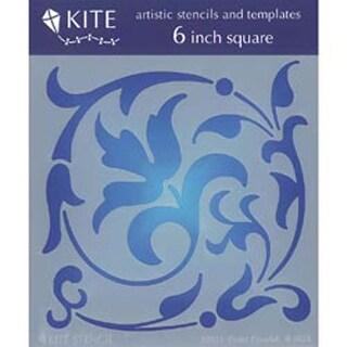 "Floral Flourish - Judikins 6"" Square Kite Stencil"