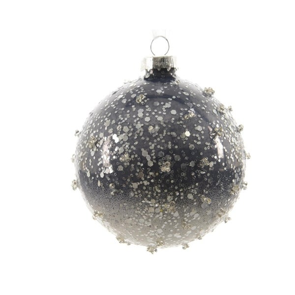 """Set of 3 Winter Light Ombre Periwinkle Beaded Glass Christmas Ball Ornaments 3"""" (80mm)"""