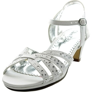 Olive & Edie Winifred Youth Open Toe Canvas White Sandals