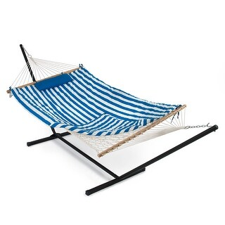 Belleze 12 ft Rope Hammock Combo with Stand, Pad and Pillow, iPad and Cup Holder (Blue and White Stripe)