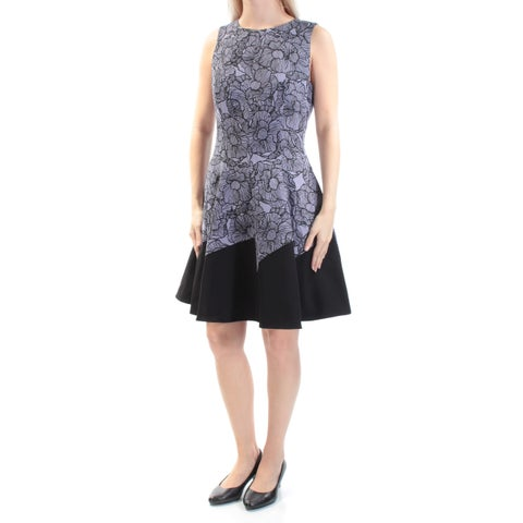 Womens Purple Black Sleeveless Above The Knee Wear To Work Dress Size: 6