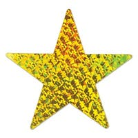 Club Pack of 36 Gold Prismatic Foil Star Party Cutout Decorations 9""