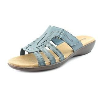 Clarks Rosa Bay Q Women Open Toe Leather Blue Slides Sandal