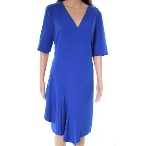Maggy London Blue V-Neck Fit & Flare Women's Size 14 A-Line Dress