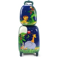 Costway 2Pc 12'' 16'' Kids Luggage Set Suitcase Backpack School Travel Trolley ABS - Blue