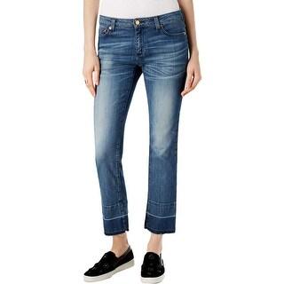 MICHAEL Michael Kors Womens Straight Leg Jeans Frayed Light Wash