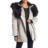 NOIZE Gray Womens Large L Faux-Fur Hooded Double Zip Parka Jacket