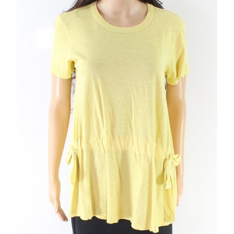 Stateside Women Short Sleeve Cotton Drawstring Blouse