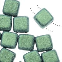 CzechMates Glass, 2-Hole Square Tile Beads 6mm, 1 Strand, Metallic Light Green Suede