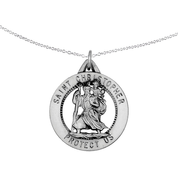 Sterling Silver Saint Christopher Pendant with 18-inch Cable Chain by Versil. Opens flyout.