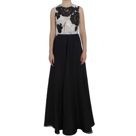 Dolce & Gabbana Dolce & Gabbana Black White Floral Silk Sheath Gown Dress - it40-s