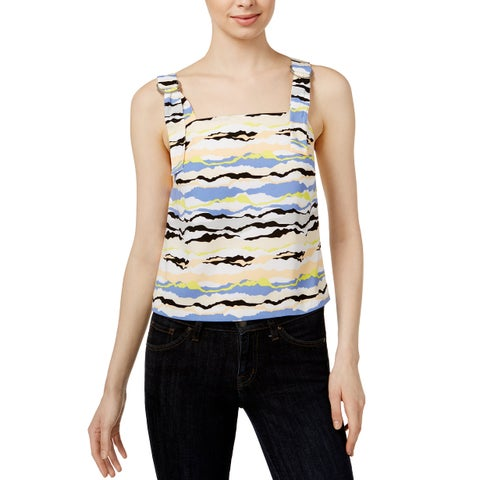 Kensie Horizon Lines Printed Buckle Strap Top Citrus Splash Combo