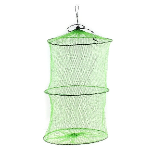 Unique Bargains 0.2 Folded Nylon Plastic Foldable Fishing Landing Net Fish Keepnet Cage for Fishermen Shrimp Green