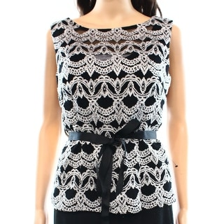 Alex Evenings NEW Black Women's Size Medium M Lace Belted Seamed Blouse