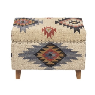 Link to Handmade Kilim Upholstered Storage Stool (India) Similar Items in Living Room Furniture