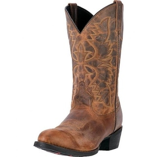Laredo Western Boots Mens 12 Round Toe Leather Tan Distressed 68452