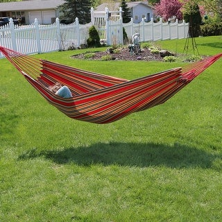 Sunnydaze Extra Large Double Brazilian Hammock with Carrying Bag - Sunset
