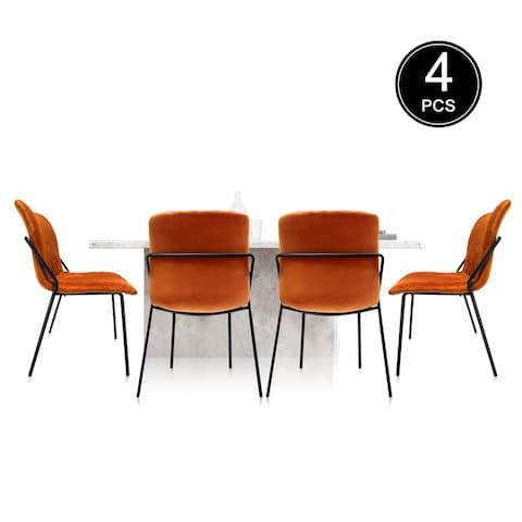TiramisuBest 4pcs Light Luxury Modern Home Dining Chair Orange