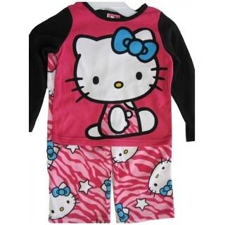 Hello Kitty Girls Fuchsia Black Kitty Spotted Print 2 Pc Pajama Set 8-10