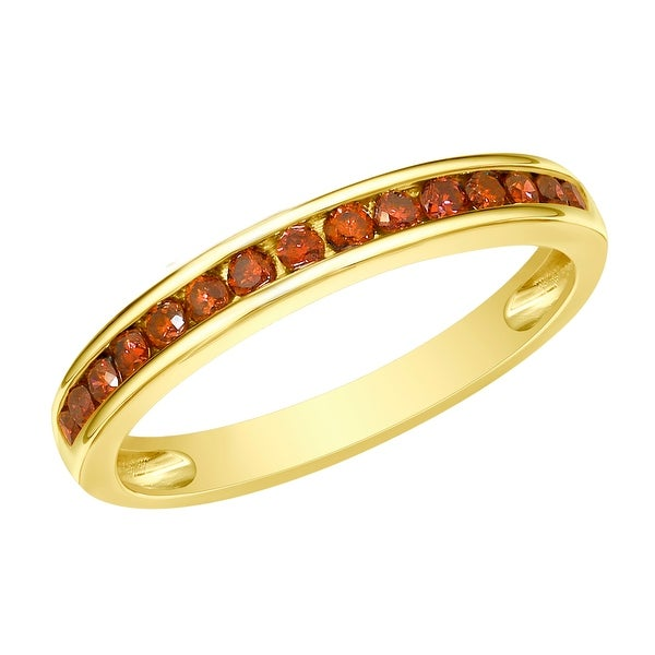 Prism Jewel 1.90MM 0.51CT Channel Set Cognac Color Diamond Anniversary Ring - Red