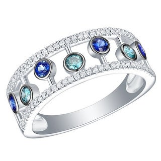 Prism Jewel 0.53CT Blue Sapphire with Blue & White Diamond Wedding Band