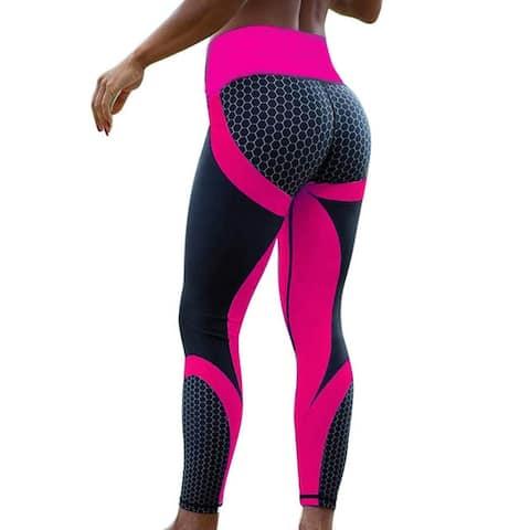 Honeycomb Print Color Block Women Leggings Yoga Pants Workout Stretch Tights