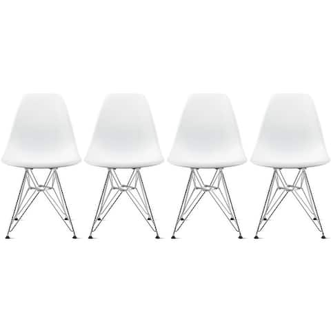 Colorful Designer Plastic Dining Chairs with Eiffel Legs (Set of 4)