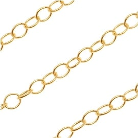 Bright Gold Plated Cable Circle Chain 3mm - Bulk By The Foot