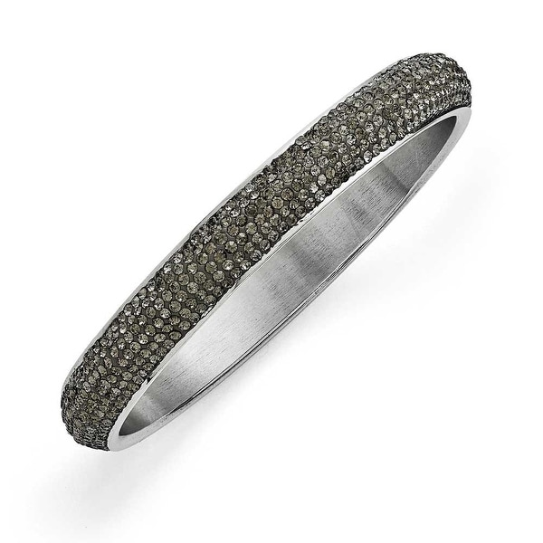 Chisel Stainless Steel Polished Clear Crystal Rounded Bracelet
