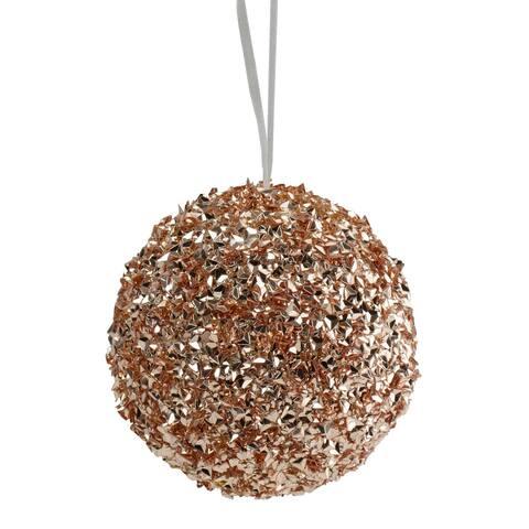 """4.75"""" Rose Gold Glittered Christmas Ball Ornament"""